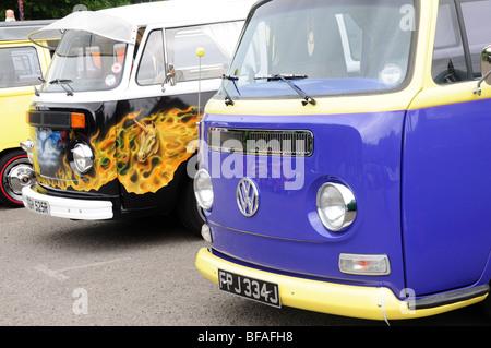 Vw Type 2 Bay Window Camper Vans Margam Park Volkswagen Rally West Glamorgan Wales Cymru UK GB - Stock Photo