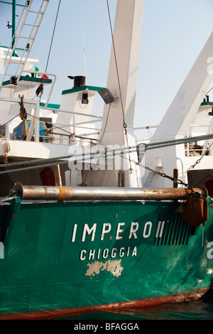 San Domenico canal in Chioggia detail of fishing boat - Stock Photo