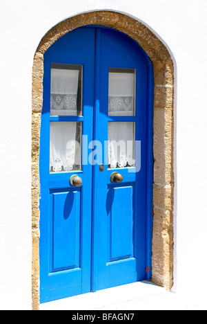 Traditional Greek door on Kythera island - Stock Photo