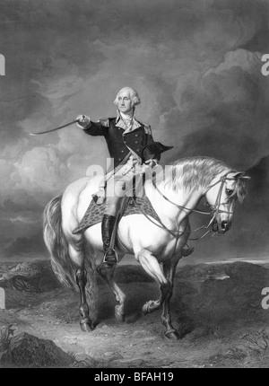 Portrait of George Washington at the Battle of Trenton - Washington (1732 - 1799) was the first US President (1789 - Stock Photo