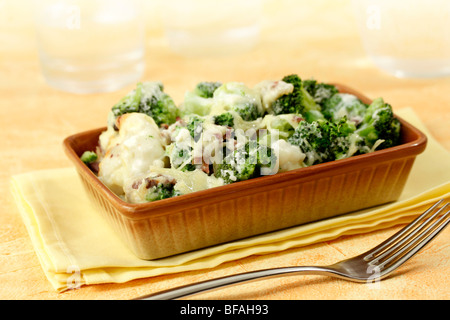 Baked broccoli and cauliflower. Recipe available. - Stock Photo