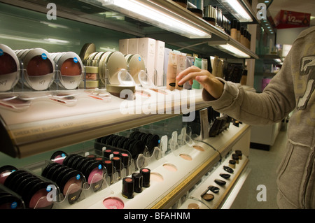 Display of Boots make up,No 7 products include foundation, mascara, serum, lip gloss and moisuriser,cosmetics,animal - Stock Photo