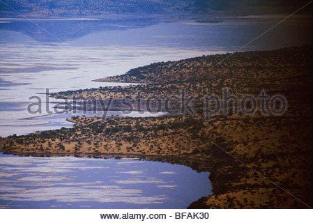Great Rift Valley (aerial), Lake Natron, Tanzania - Stock Photo
