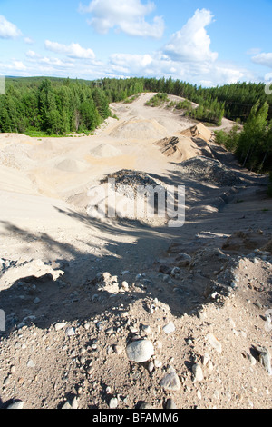 Sandpit on a sandy ridge , glacial esker , Finland - Stock Photo