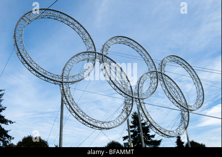 olympic rings in Vancouver bc - Stock Photo