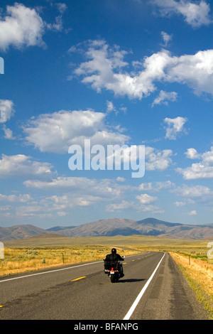 Motorcycling along US Highway 20 near Arco, Idaho, USA.