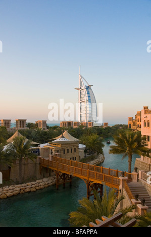 Medinat Jumeirah resort and Burj Al Arab Hotel Dubai - Stock Photo