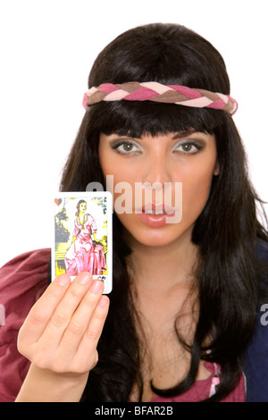 fortune teller with tarot cards - Stock Photo