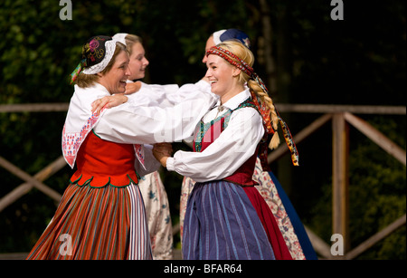 Folk Dancers in traditional dress in Skansen Open Air Museum, Stockholm, Sweden - Stock Photo