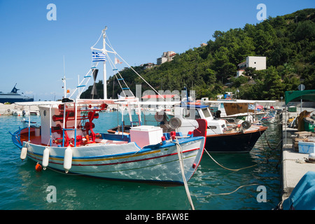 Poros ferry harbour town on Kefalonia Greek island fishing boats - Stock Photo