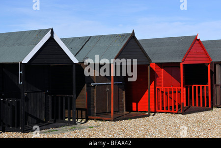 Beach huts on the waterfront, Calshot, Hampshire, England, UK, - Stock Photo