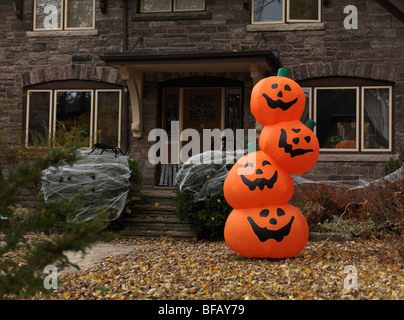 decorated for halloween house in toronto ontario canada stock photo