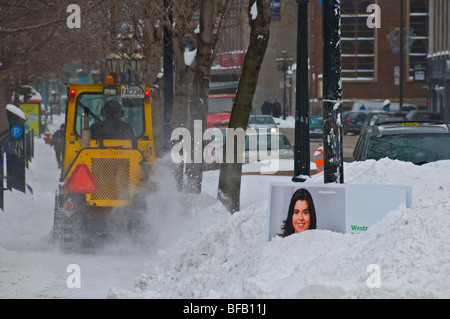 Street being cleaned in Montreal Canada - Stock Photo