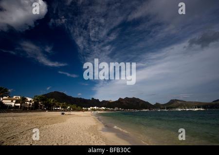 Sandy beach at Port de Pollenca (puerto pollensa), Mallorca - Stock Photo