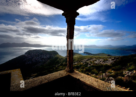Room with a view of Port Pollensa, Cap Formentor, Mallorca - Stock Photo