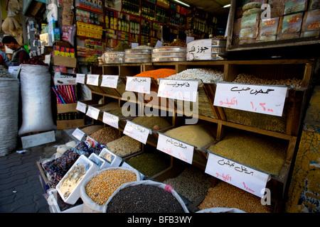 Spices on display, Downtown Amman, Jordan - Stock Photo