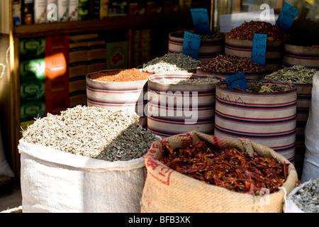 Sacks of spices, Downtown Amman, Jordan - Stock Photo