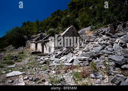 Abandoned house on Island Brac, Central Dalmatia, Croatia - Stock Photo