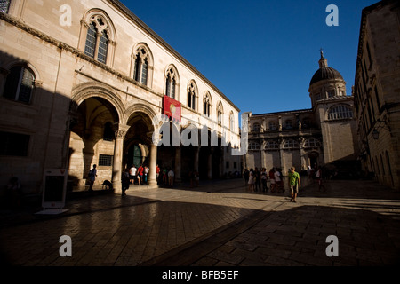 Rector's Palace and Cathedral of the Assumption of the Virgin (Velika Gospa), Dubrovnik, Croatia - Stock Photo