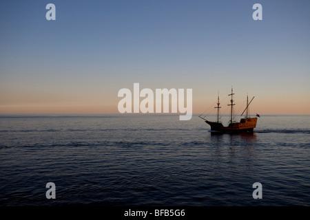 Pirate ship on the Adriatic sea, Dubrovnik, Croatia - Stock Photo