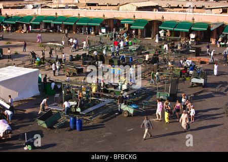 MARRAKESH, MOROCCO - Djemaa el-Fna main square in the medina. - Stock Photo