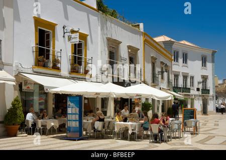Portugal, the Algarve, street restaurant, Rua Ivens, in Faro - Stock Photo