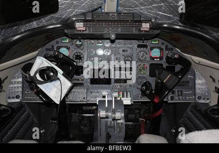 USAF Learjet C-21A cockpit - Stock Photo