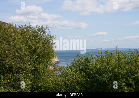 The view of the sea along the Dorset coastal path from Swanage to Old Harry Rocks - Stock Photo
