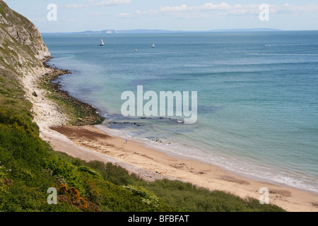 The view of the beach along the Dorset coastal path from Swanage to Old Harry Rocks - Stock Photo