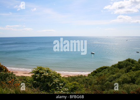 The view along the Dorset coastal path from Swanage to Old Harry Rocks - Stock Photo