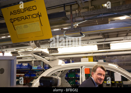 'Assured Operation' Lord Peter Mandelson on a visit to the Nissan car factory in Sunderland. - Stock Photo