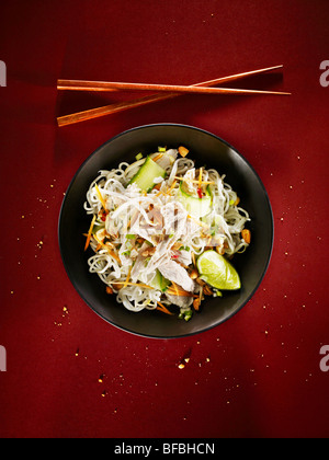 Spicy chicken noodles, an Asian style dish - Stock Photo