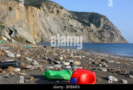 Dirty beach near Kalamaki, Turtle National Marine Park, Zante Greece, 2009 - Stock Photo