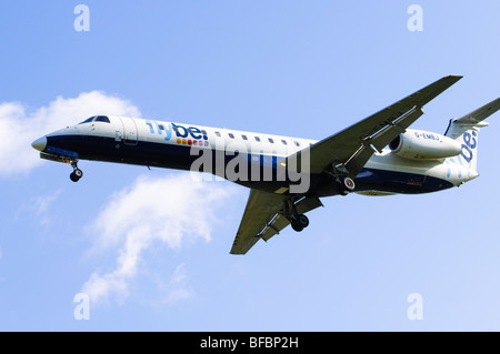 Embraer ERJ-145 operated by Flybe on approach for landing at Birmingham Airport - Stock Photo