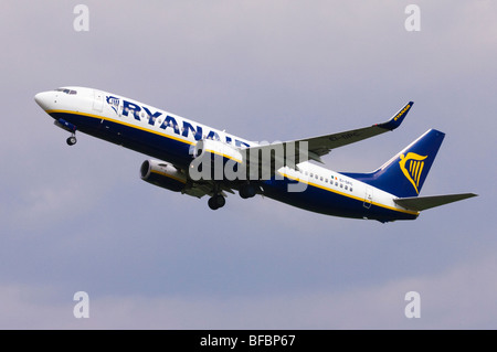 Boeing 737 operated by Ryanair taking off from Birmingham Airport - Stock Photo