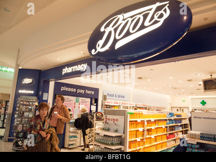 Boots the Chemist store in departures; terminal one, Heathrow airport, London UK - Stock Photo