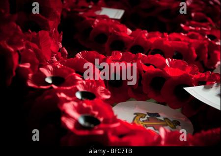 Poppy Wreaths on Remembrance Sunday - Stock Photo
