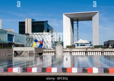 Agam fountain and grande arche - la Defense - Paris - France - Stock Photo