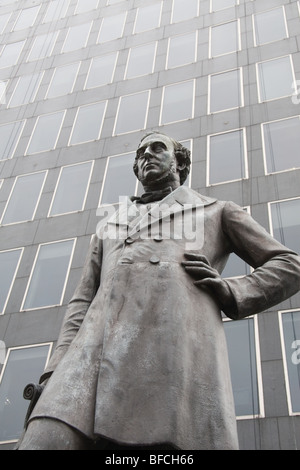 Statue of George Stephenson outside Euston station, London UK - Stock Photo