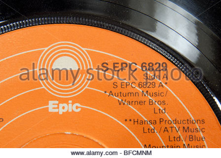 Label of an Epic records 45 rpm record. - Stock Photo