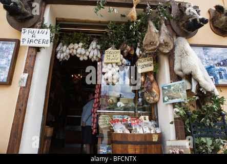 A Delicatessen shop front in Norcia Umbria Italy - Stock Photo