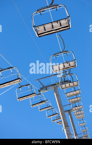 low angle view of a chair lift. - Stock Photo