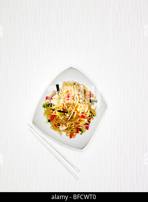 Noodles with vegetables, typical food from South East Asia. - Stock Photo