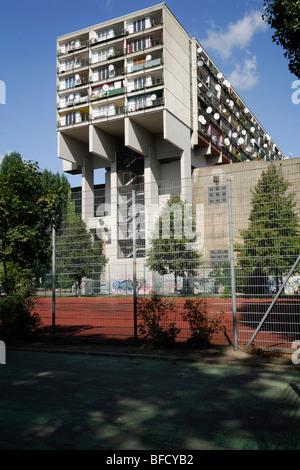 Berlin. Germany. Pallasseum aka Sozialpalast building built over concrete WWII bunker in Schöneberg. - Stock Photo