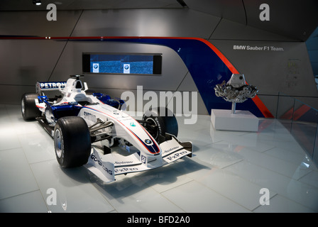 sample from a F1 automobile from BMW, displayed in the BMW Welt in Munich, Germany - Stock Photo