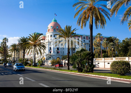 Promenade Des Anglais and the Famous Negresco Hotel in Nice, Cote d'Azur, France - Stock Photo