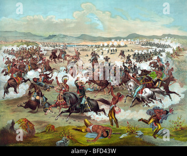 Print depicting Custer's Last Stand with the US 7th Cavalry at the Battle of the Little Bighorn in 1876. - Stock Photo