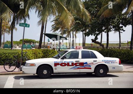 Miami Beach Police car on Ocean Drive in South Beach on Miami Beach, America - Stock Photo