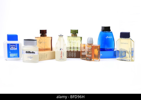 Selection of men's Aftershave products available to purchase anywhere against a white background - Stock Photo