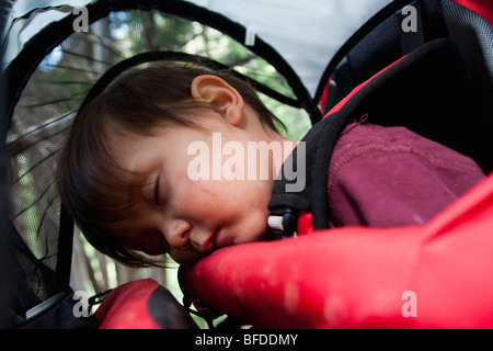 14 month old boy sleeps in backpack carried by mother, backpacking in Maroon Bells Snowmass Wilderness outside Aspen, - Stock Photo